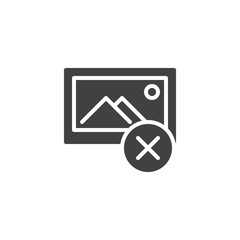 Remove image file vector icon. filled flat sign for mobile concept and web design. Delete photo gallery simple solid icon. Symbol, logo illustration. Pixel perfect vector graphics