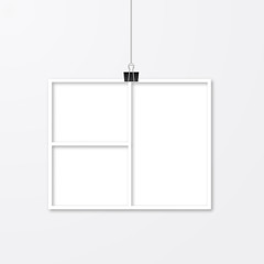 Realistic photo frame hanging with binder clips. Paper cut image. Collage layout vector illustration isolated on white. Wedding album page template.