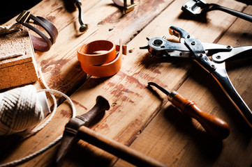 Tools for processing products made of genuine leather