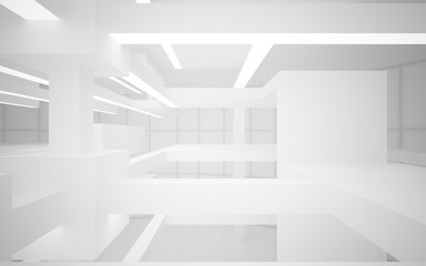 Abstract white interior of the future, with neon lighting. 3D illustration and rendering