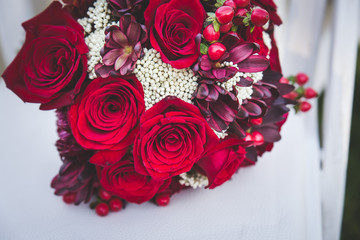 closeup of red and white wedding bouquet