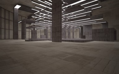 Abstract white and brown concrete parametric interior  with window. 3D illustration and rendering.