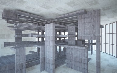 Abstract white and brown concrete interior multilevel public space with window. 3D illustration and rendering.