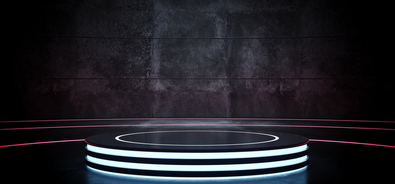 Sci Fi Modern Hi Tech Empty Grunge Concrete Podium Lighted Round Circle Stage In Dark Reflective Room With Neon Glowing Circle Lines Product Showcase 3D Rendering
