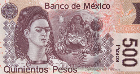 Mexican 500 peso (2010) bill, Frida Kahlo. Mexico money currency close up.