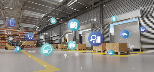 Logistic organisation on a warehouse background 3d rendering Wall mural