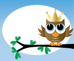 a sweet little brown owl with a golden crown happy birthday or newborn baby announcement