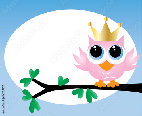 A Sweet Little Pink Owl With Golden Crown Happy Birthday Or Newborn Baby Announcement