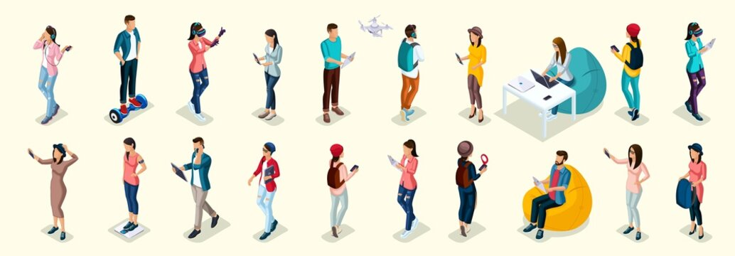 Set of 20 Trendy isometric people and gadgets, teenagers, young people, students, using hi tech technology, mobile phones, pad, laptops, make selfie, smart watches, virtual games, navigators