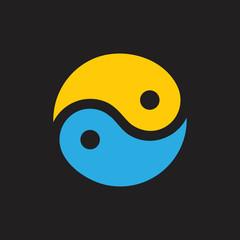 yin yang sun ocean balance logo vector