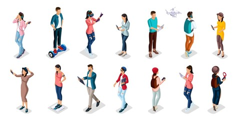 Trendy Isometric people and gadgets, teenagers, young people, students, using hi tech technology, mobile phones, pad, laptops, make selfie, smart watches, virtual games, navigators isolated