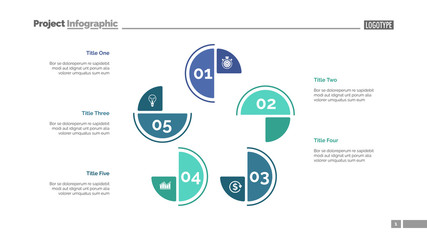 Cycle chart with five elements. Step diagram, process chart, layout. Creative concept for infographics, presentation, project, report. Can be used for topics like management, workflow, analysis.