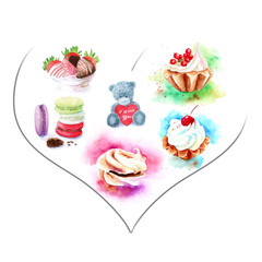 watercolor sweets in the heart, a bear with a heart, Valentine's Day