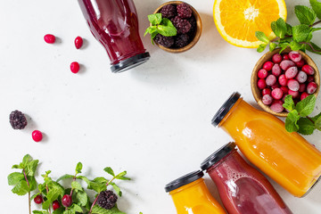 Healthy Juicy Vitamin Drink Diet or Vegan Food Concept, fresh fruit and berry. Top view flat lay background. Copy space.