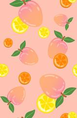cute sweet peach, lemon, orange seamless vector pattern