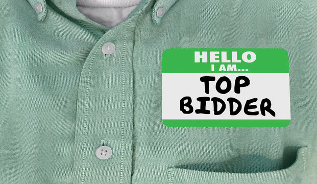 Top Bidder Auction Buyer Hello Name Tag Words 3d Illustration