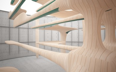 Empty dark abstract concrete and wood smooth interior. Architectural background. 3D illustration and rendering