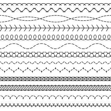 Stitch lines. Stitched seamless pattern threading borders sewing stripe fabric thread zigzag edges sew textile