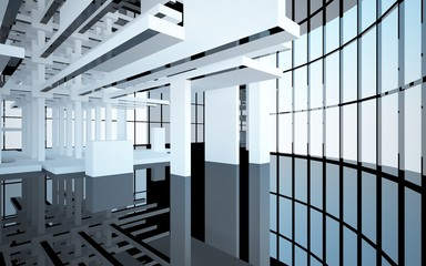 Abstract white and black interior multilevel public space with window. 3D illustration and rendering.
