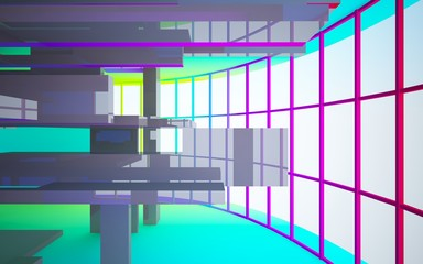 Abstract white and colored gradient  interior multilevel public space with window. 3D illustration and rendering.