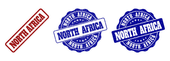 NORTH AFRICA scratched stamp seals in red and blue colors. Vector NORTH AFRICA labels with grunge effect. Graphic elements are rounded rectangles, rosettes, circles and text labels.