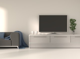 Home interior with a tv on a table. 3D rendering.