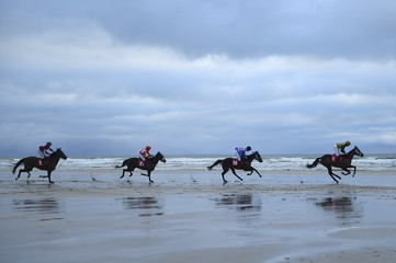 Runners and riders participate in the 50th anniversary of the Christmas beach races in Ballyheigue