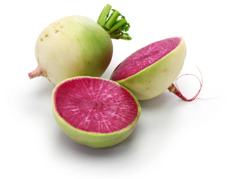 watermelon radish isolated on white background