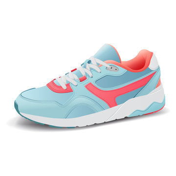 Realistic sport running shoe for training and fitness on white background, trendy sneakers, vector illustration