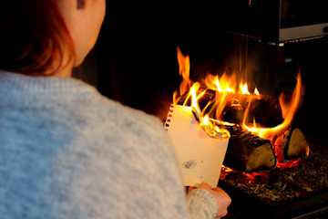papierblatt verbrennen im feuer V