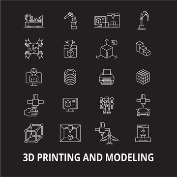 3d printing and modeling editable line icons vector set on black background. 3d printing and modeling white outline illustrations, signs,symbols