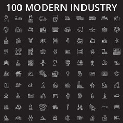 Industry icons editable line icons vector set on black background. Industry icons white outline illustrations, signs,symbols
