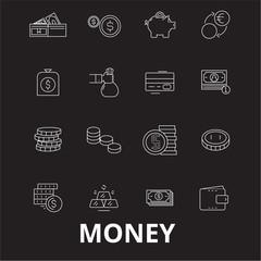 Money editable line icons vector set on black background. Money white outline illustrations, signs,symbols