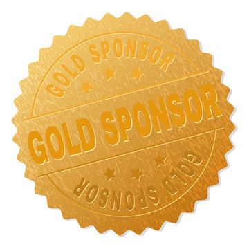 GOLD SPONSOR gold stamp seal. Vector golden award with GOLD SPONSOR text. Text labels are placed between parallel lines and on circle. Golden skin has metallic texture.