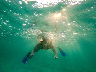 red sea, underwater world, girl swims
