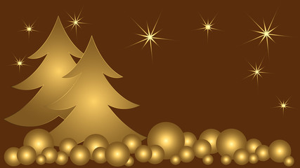 Card Christmas happy new year. Golden balls stars brown background. You can put your own text on it.