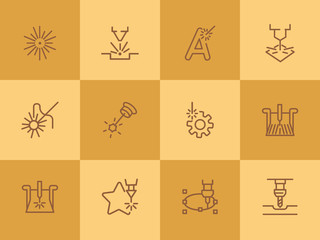 High precision technology. Set of line icons on white background. Modern lifestyle concept. Vector illustration can be used for industry, typing, advertisement