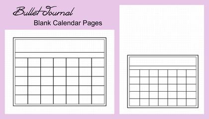 Bullet Journal Monthly Calendar, Blank