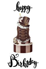 Vintage steampunk drawn lady- cake happy birthday card template white isolated