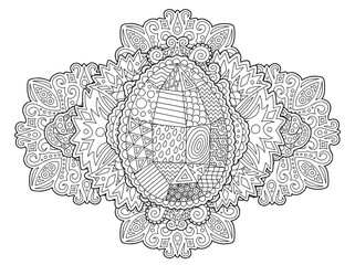 Lline art for coloring book page with Easter egg