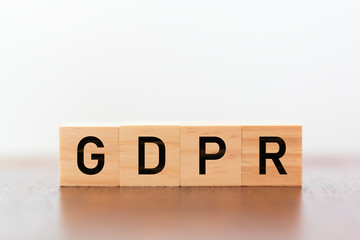 GDPR written on wooden cubes against white background