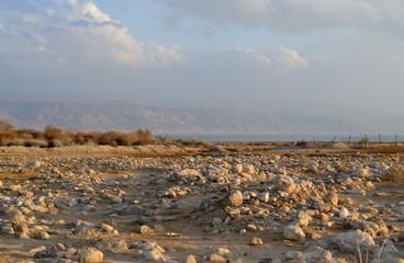 Desert area at dusk, sunset on the shore of dead sea, Judean desert, Israel