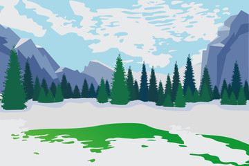 Early spring. Spring is coming. Mountain winter spring landscape. Spring nature, meadow, new grass. Snow melting. Siberia, Alaska, North, Arctic, Grinnlandia, Antarctica.2