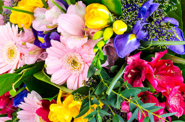 Beautiful floral background from mix of flowers