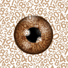 realistic eyeball on a number background
