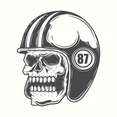 Black and white skull motorcycle helmet on a white background. Vector illustration.