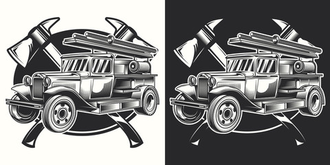 Original vector print. Fire truck emblem on dark and white background.