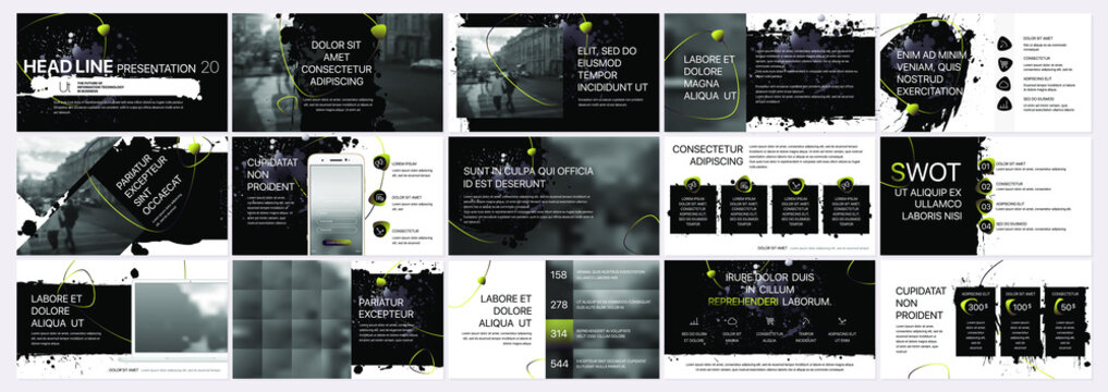 Vector presentation templates with elements of ink blots, paint smudges. Vector infographics. Use in Presentation, flyer and leaflet, corporate report, marketing, advertising, annual report, banner.