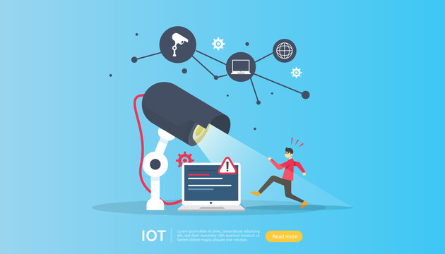 CCTV security camera monitoring. thief shocked detected. IOT internet of things smart house concept for industrial 4.0. web landing page template, banner, social, print media. Vector illustration
