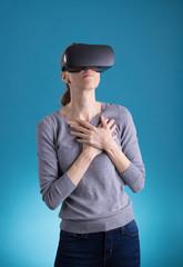 Woman using VR Virtual Reality headset